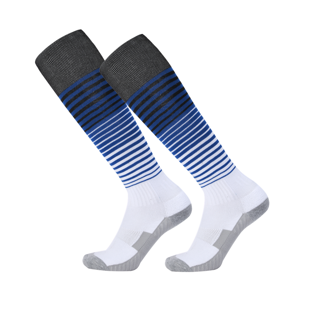 Socks Adult - White with Black and Blue trim