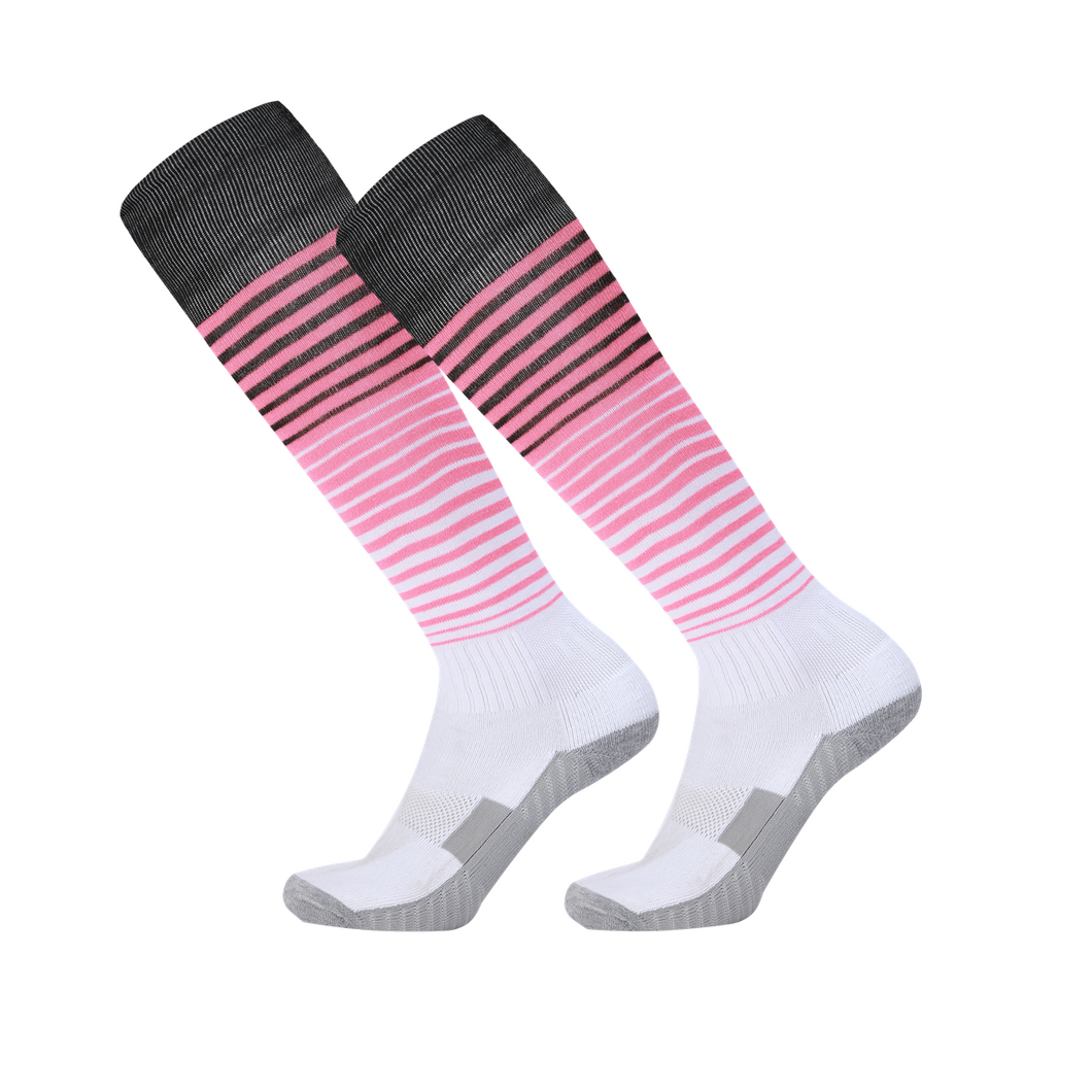 Socks Adult - White with pink and black trim