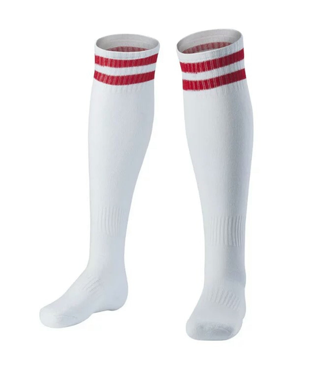 Socks Junior and Adult - White with two red lines