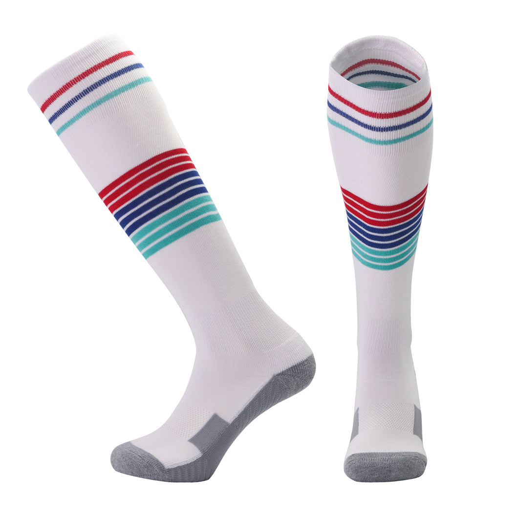 Socks Adult - White with red, blue and sky blue trim