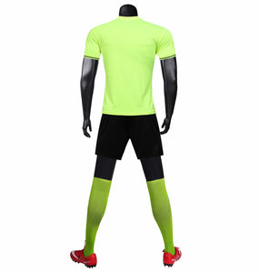Full Football Kit - Neon Green with Black Block Design and Shorts.
