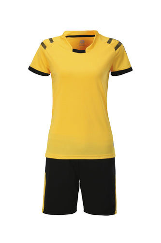 Full Football Kit - Yellow With Black Shorts.
