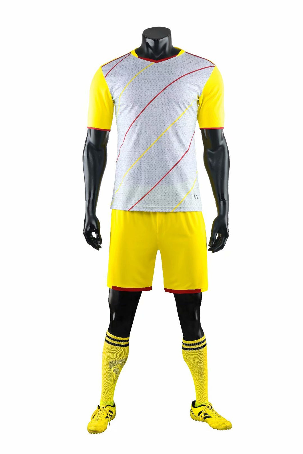 Full Football Kit - Yellow and White with Thin Stripe Design.