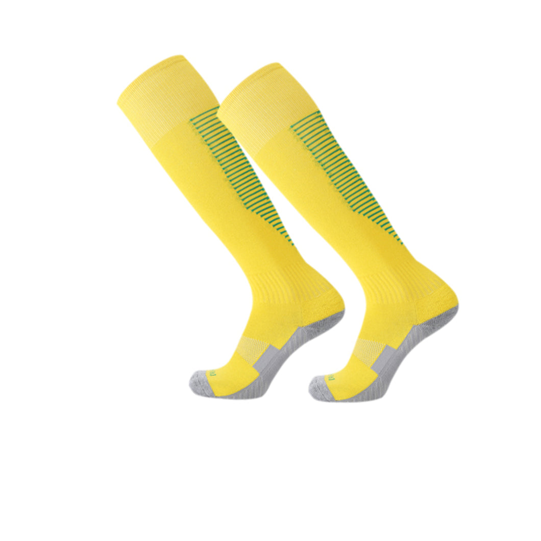 Socks Adult - Yellow with green lines