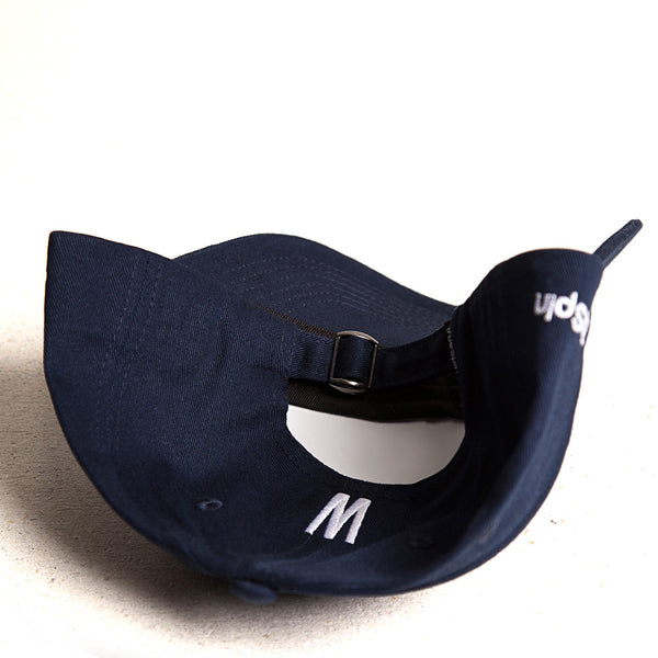 ABC Curved 6 Panel Strapback Cap - navy/weiß - S