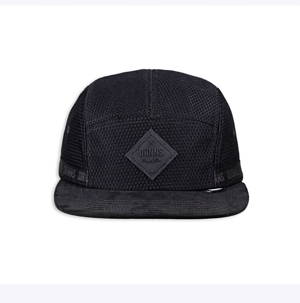 """5 Panel Flat Cap Honey Nylon"" - black"