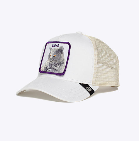 """Baseball Cap Diva Stance"" - 5 Panel Trucker - white"