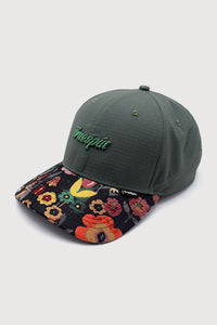 """Round Rip Flower"" - 6 Panel Round Visor Cap  - green"