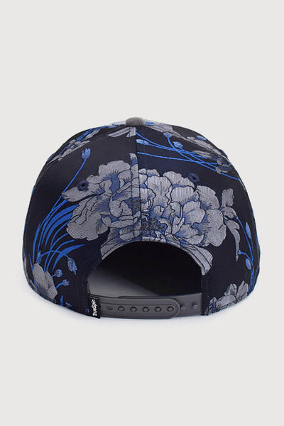 """Adrian"" - Floral 6 Panel Snapback Cap  - navy/dark grey"