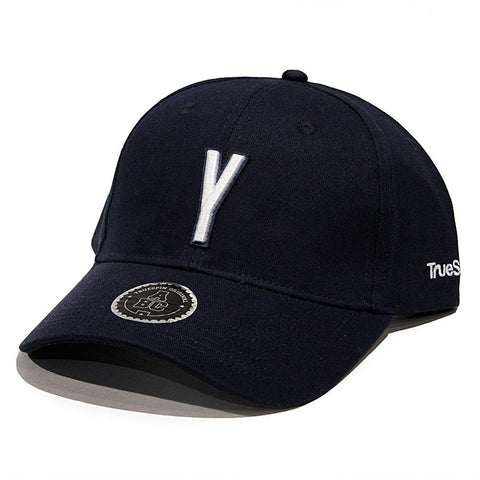 truespin abc letter cap, round visor strapback, navy color, letter y