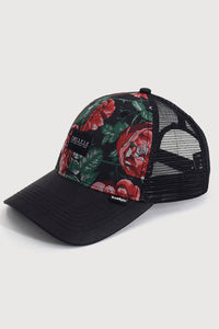 """Curved Roses"" - Floral Trucker Cap  - multi/black"