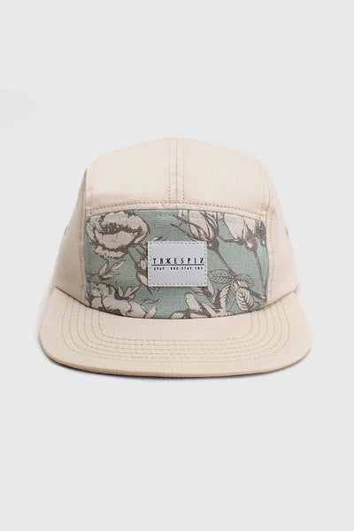 """5 Panel Good Mood"" - Floral 5 Panel Cap  - multi/beige"