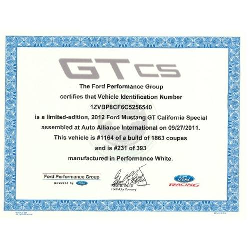 2007-2014 Mustang GT California Special Certificate of Authenticity