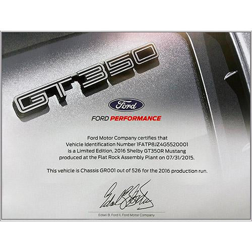 2015-2019 Shelby GT350 Certificate of Authenticity