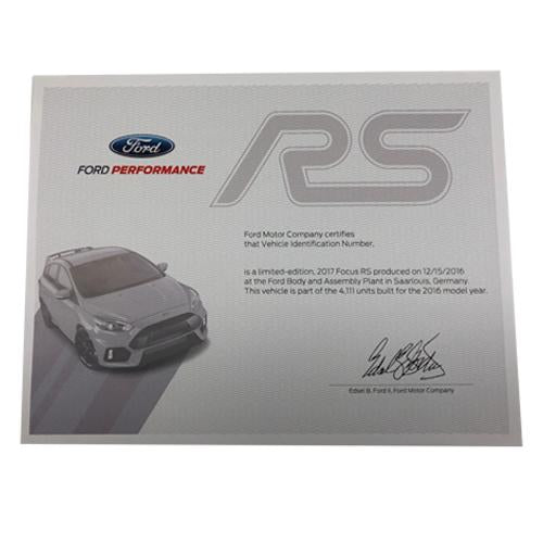 2016-2018 Focus RS Certificate of Authenticity