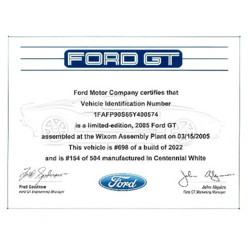 Ford GT Certificate