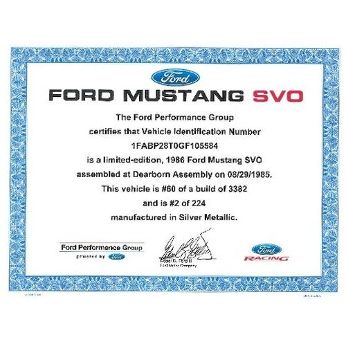 Mustang SVO Certificate of Authenticity