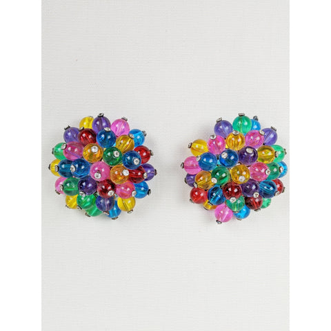 Large Vintage Rainbow Clip On Earrings