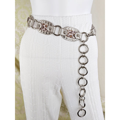 90's Kathy Van Zeeland Leather Chain Belt