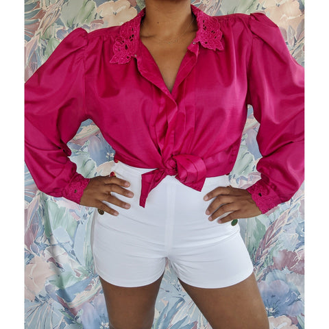 Karen Scott Fuschia Lace Blouse