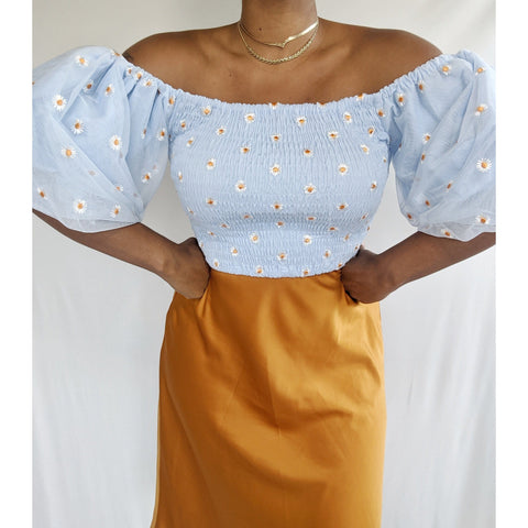 Blue Daze Puff Shoulder Top