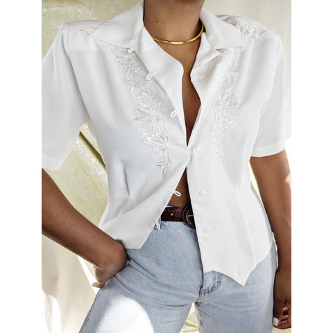80's Silky White Blouse