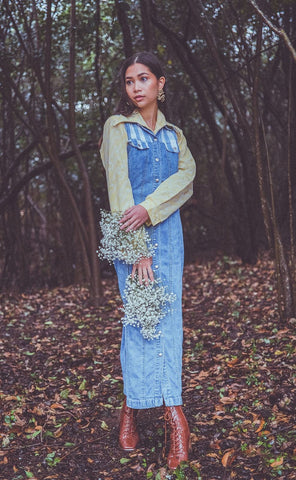 1990's Denim Maxi Dress
