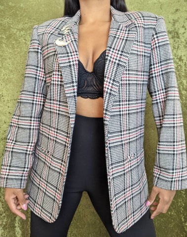 1990's Red and White Plaid Blazer