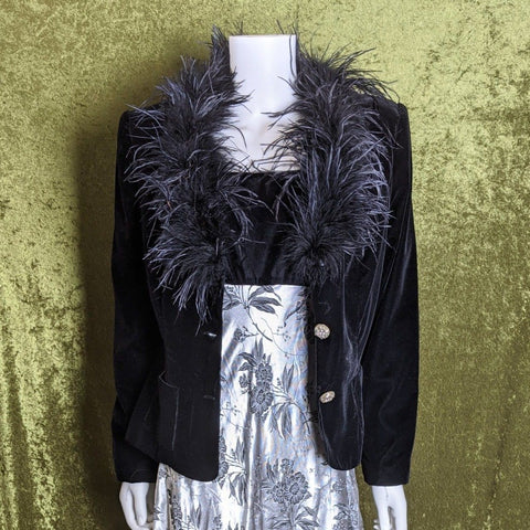 1990's Velvet Feather Trim Blazer