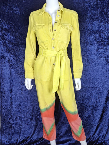 Reworked Watercolor Jumpsuit Chartreuse