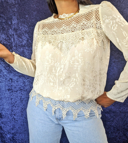 1980's Lace and Satin Blouse