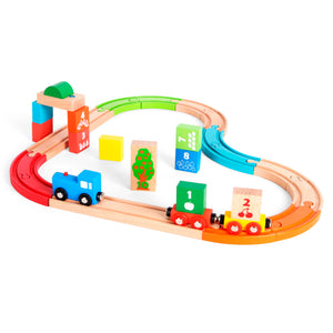 37pcs Wooden Figure 8 Train Set, Wooden Educational Toy