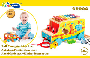 Pull Along Wooden Activity Bus, Wooden Educational Toy