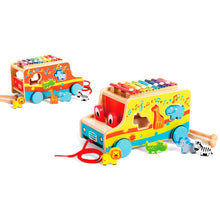 Load image into Gallery viewer, Pull Along Wooden Activity Bus, Wooden Educational Toy