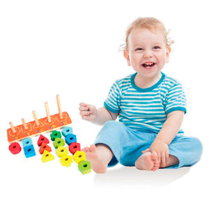 Wooden 123 Stacking Blocks, Wooden Educational Toy