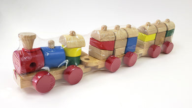 Wooden Pull Along Stacking Train, Wooden Educational Toy