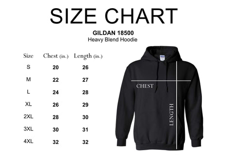 Unisex Heavy Blend™ Hoodies Sweatshirt Size Chart