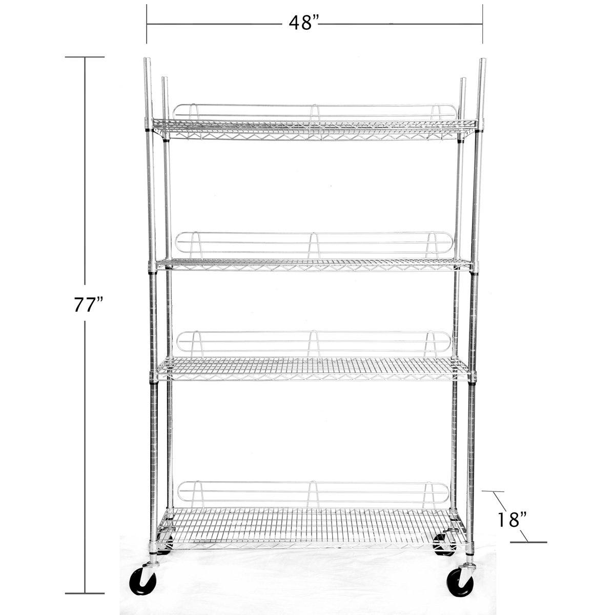Trinity 4 Tier 48 Inch EcoStorage™ Chrome Rack