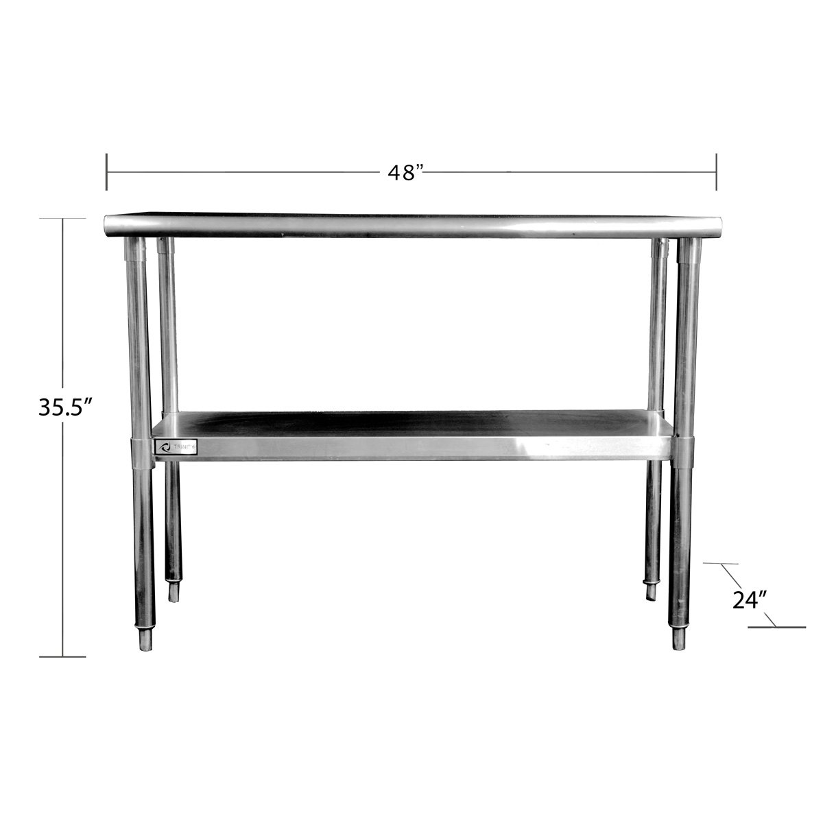 "Trinity EcoStorage™ 48"" NSF Stainless Steel Prep Table"