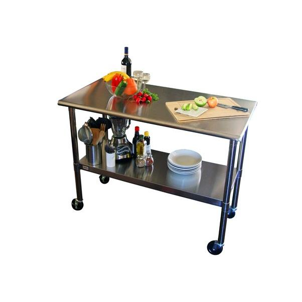 "Trinity EcoStorage™ 48"" NSF Stainless Steel Prep Table w/ Wheels"