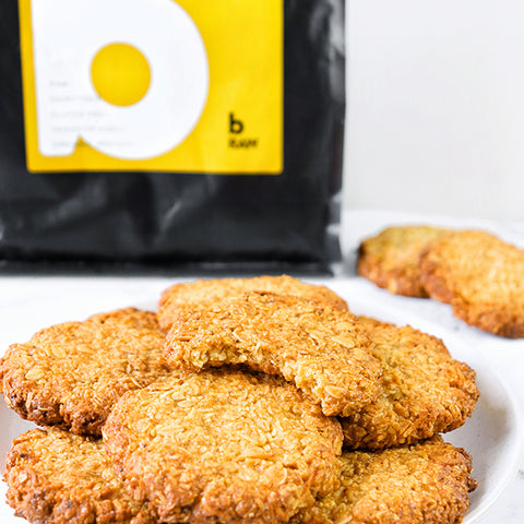 A plate of vegan protein anzac day cookies