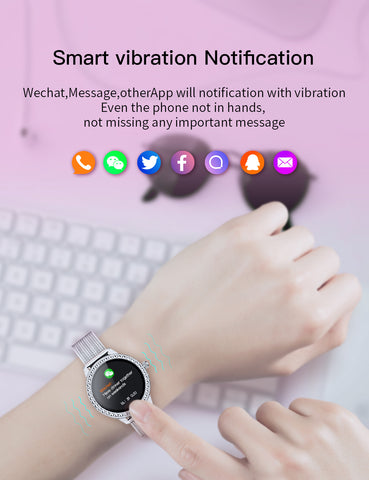Ladies Smart Watch, Fitness Tracker With Heart Rate Monitor, Sleep Monitor And Blood Oxygen Saturation. Dustproof And Waterproof Design, High-Definition Full-Color Screen.