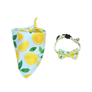 Breakaway Bow Tie Cat Collar with Bell 3 Pack Adjustable Safety Cute Kitty Collars with Scarf Triangle Bibs Kerchief and Detachable Bowtie Fruit Patterns, Lemon, Pineapple,Pitaya