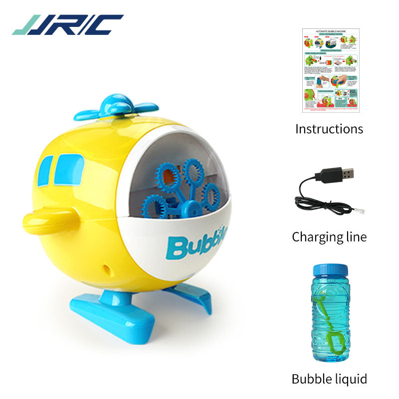 Bittychoice Automatic Bubble Maker Machine USB Rechargeable Helicopter Electric Bubble Blower with 120ml Bubble Solution  for Kids