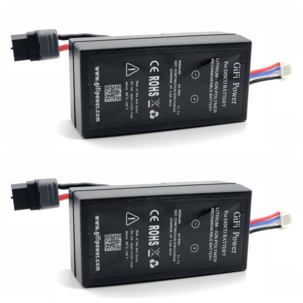 2 PACK 4050mAh 44.9Wh 20C 11.1V LiPo Battery for Parrot Disco Black