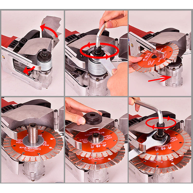 220V 4KW Electric Wall Chaser Concrete Saw 40mm + 5pcs Blades