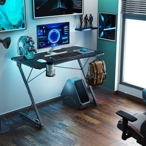 Gaming Desk, Z-Shaped Professional E-Sport Gamer Workstation with LED Lights & Large Carbon Fiber Surface, Ergonomic PC Gaming Table for Home Office