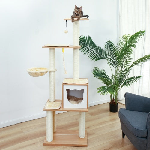 65.6 Inches Modern Cat Tree 6 Levels Cat Tower with Sturdy Scratching Posts, Large Condo, Soft Hammock and Removable Mats