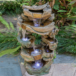 "39.37"" 8-Tier Rock Floor Standing Fountain Water Fall 7 White LED Light with Contemporary Design for Garden, Patio, Deck, Porch, Backyard and Home Art Decor"