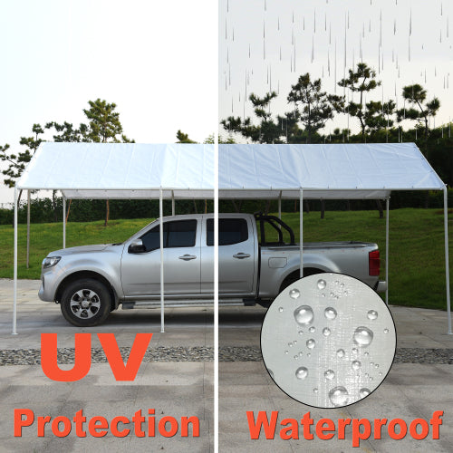 10X20ft Upgraded Heavy Duty Car Canopy Galvanized Frame Carport Outdoor Boat Shelter with 8 Steel Legs